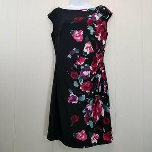 Ralph Lauren 10 Sheath Dress Wiggle Black Floral